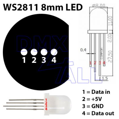 Digital LED-Pixel WS2811 8mm